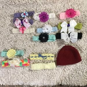Other - HEAD BANDS TOBOGGAN BOWS hand crochet lot baby kid